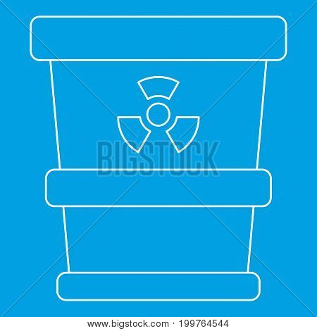 Trash can with radioactive waste icon blue outline style isolated vector illustration. Thin line sign