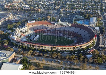 Los Angeles, California, USA - August 7, 2017:  Aerial view of the historic LA Coliseum stadium near downtown and USC.