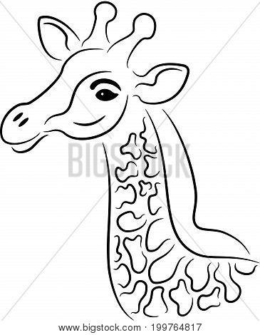 Vector illustration of black giraffe silhouette, isolated
