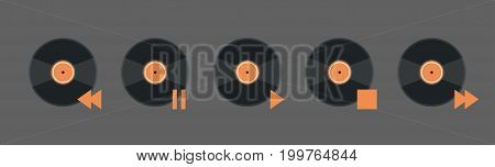 Vynil Disk Music Player Volume Icon Set Audio Listening App Interface Button Flat Vector Illustration