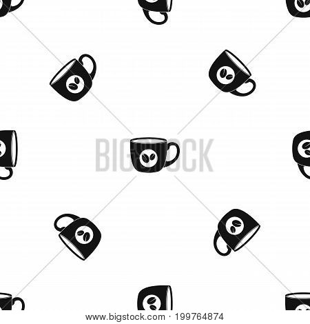 Cup of coffee pattern repeat seamless in black color for any design. Vector geometric illustration