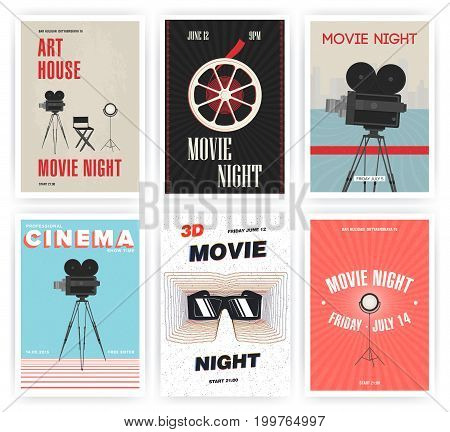Movie night poster set. Cinema events different advertising placards. Colorful vector illustration