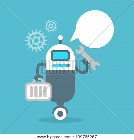 Modern Robot Settings Repair Artificial Intelligence Technology Concept Flat Vector Illustration