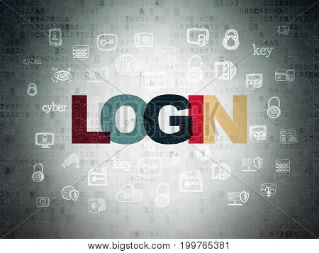 Protection concept: Painted multicolor text Login on Digital Data Paper background with  Hand Drawn Security Icons