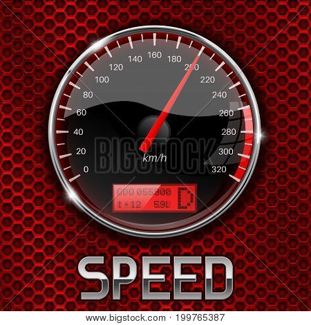 Speedometer on red perforated background. Vector 3d illustration