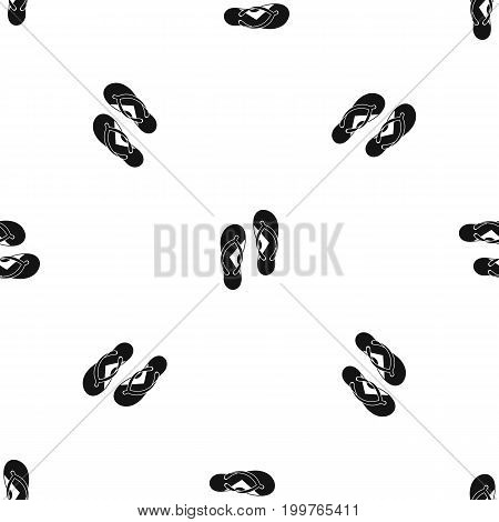 Flip flop sandals pattern repeat seamless in black color for any design. Vector geometric illustration