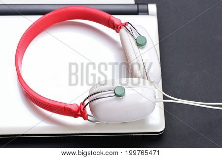 Sound Recording Idea. Earphones Made Of Plastic With Computer