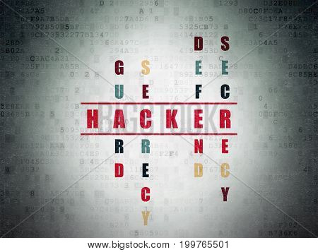 Protection concept: Painted red word Hacker in solving Crossword Puzzle on Digital Data Paper background