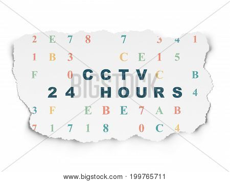 Protection concept: Painted blue text CCTV 24 hours on Torn Paper background with  Hexadecimal Code