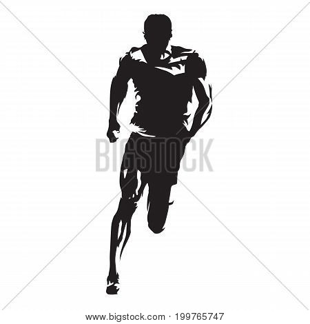 Runner vector silhouette front view of sprinting athlete