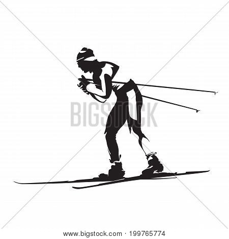 Cross-country classic style nordic skiing vector silhouette side view