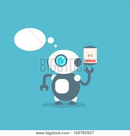 Modern Robot Low Battery Charge Message Artificial Intelligence Technology Concept Flat Vector Illustration