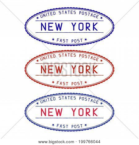 New York oval postmark. Vector illustration isolated on white background
