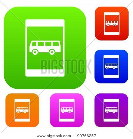 Bus stop sign set icon in different colors isolated vector illustration. Premium collection