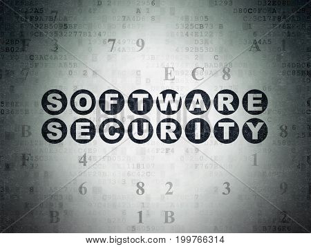 Security concept: Painted black text Software Security on Digital Data Paper background with Hexadecimal Code