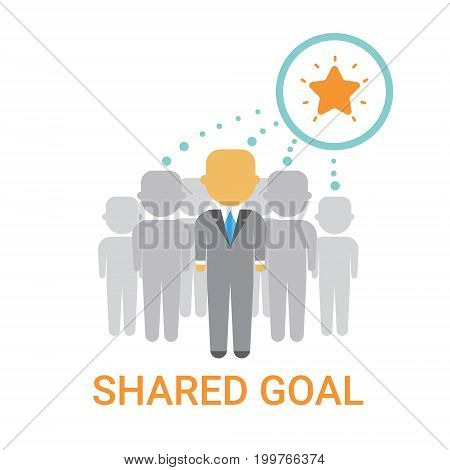 Shared Goal Businesspeople Team Cooperation Icon Business Banner Flat Vector Illustration