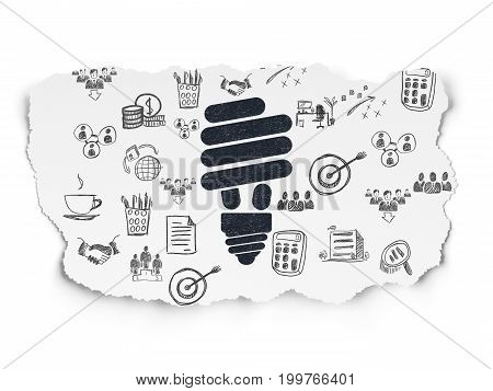 Business concept: Painted black Energy Saving Lamp icon on Torn Paper background with  Hand Drawn Business Icons