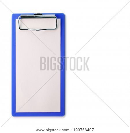 To do list type clipboard. Blue backing boar.d Isolated on pure white.