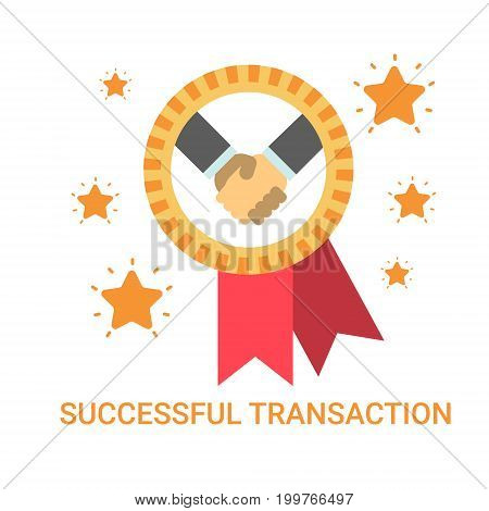 Successful Transaction Icon Business Men Handshake Deal Agreement Banner Flat Vector Illustration