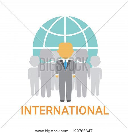 International Businesspeople Team Cooperation Concept Business Company Organization Icon Flat Vector Illustration