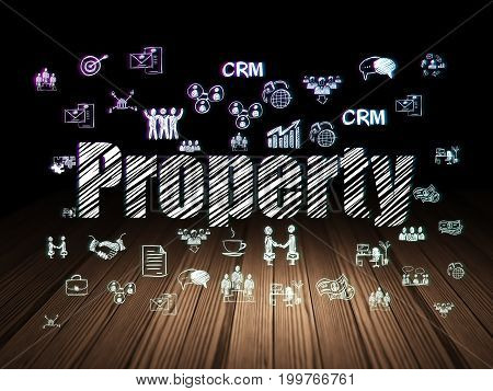 Business concept: Glowing text Property,  Hand Drawn Business Icons in grunge dark room with Wooden Floor, black background