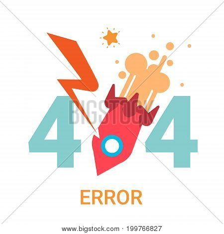Error Icon 404 Not Found Broken Message Banner Flat Vector Illustration