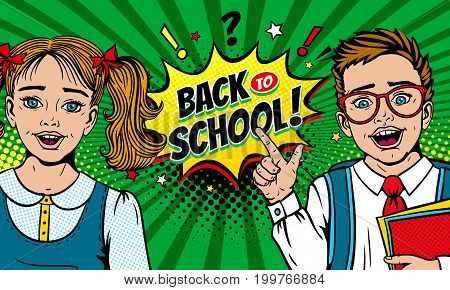 Wow faces. Cute surprised school girl and boy in glasses holding notebooks with open mouth points on Back to School speech bubble. Vector colorful cartoon background in retro pop art comic style.