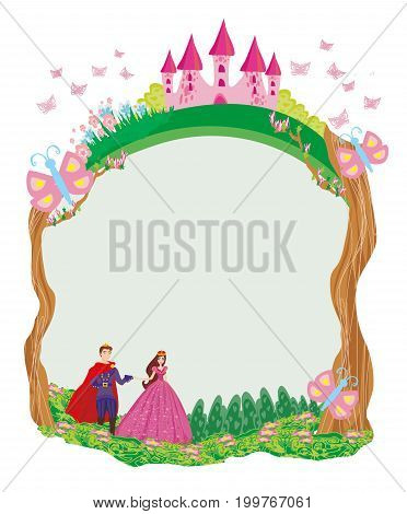 Beautiful prince and princess in the garden - frame , vector illustration
