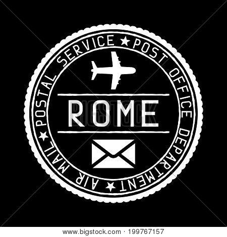 Rome mail stamp. Air mail postage service. Vector illustration on black background