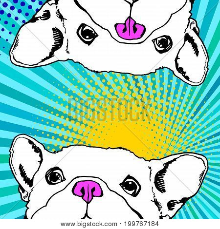 bulldog dog animal french vector illustration pet breed