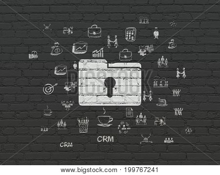 Finance concept: Painted white Folder With Keyhole icon on Black Brick wall background with  Hand Drawn Business Icons