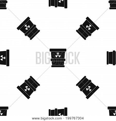 Trashcan containing radioactive waste pattern repeat seamless in black color for any design. Vector geometric illustration