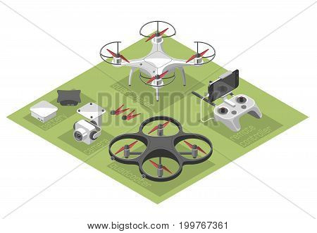 Vector Illustration with quad copter flying over the city and controller on isometric background. Drone delivery, remote control. Isometric style.