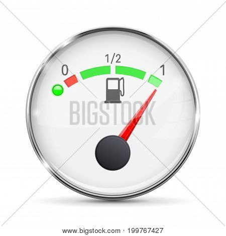 White fuel gauge with chrome frame. Full tank. Vector 3d illustration isolated on white background