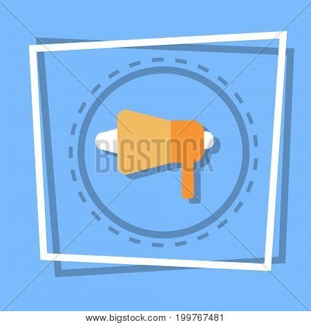 Megaphone Icon Loudspeaker Web Button Flat Vector Illustration