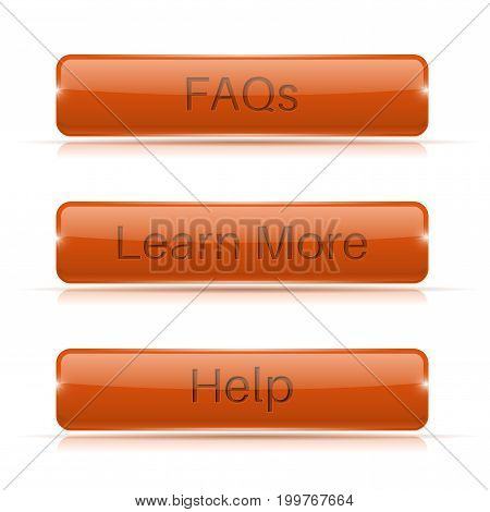 Orange long buttons. Learn more, FAQs, Help. Vector 3d illustration isolated on white background