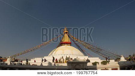 Boudhanath stupa, one of world largest stupa in Kathmandu, Nepal