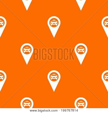 Geo taxi pattern repeat seamless in orange color for any design. Vector geometric illustration
