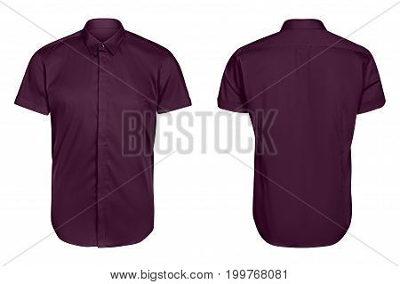classic mens violet shirt short sleeve   isolated white background