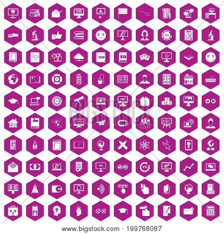 100 e-learning icons set in violet hexagon isolated vector illustration