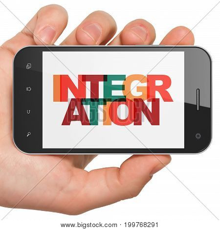 Finance concept: Hand Holding Smartphone with Painted multicolor text Integration on display, 3D rendering