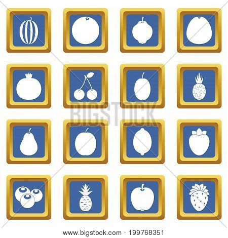 Fruit icons set in blue color isolated vector illustration for web and any design