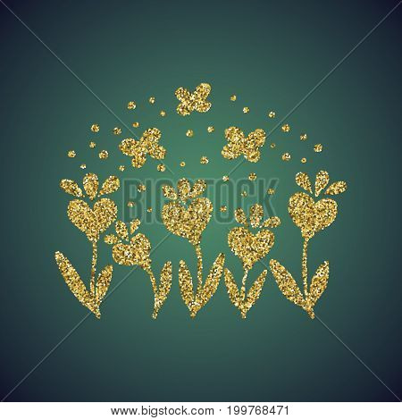 A glamour brilliant jewelry gold glitter in form of a hand drawn love heart flower and butterfly symbol. Elegant decoration of gold round sequins. A small scattering of gold circles in the heart shape