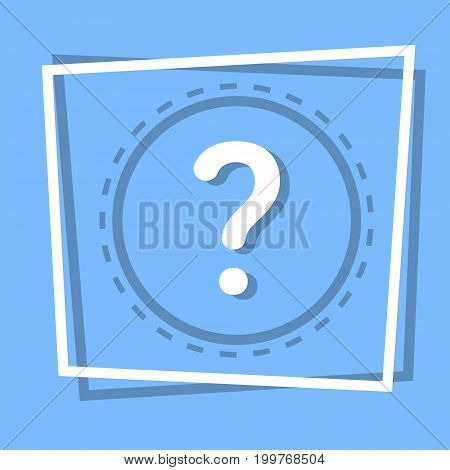 Question Mark Icon Information Help Web Button Flat Vector Illustration