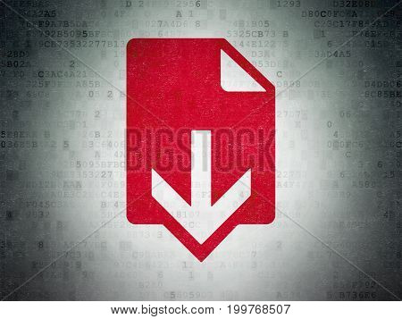 Web development concept: Painted red Download icon on Digital Data Paper background