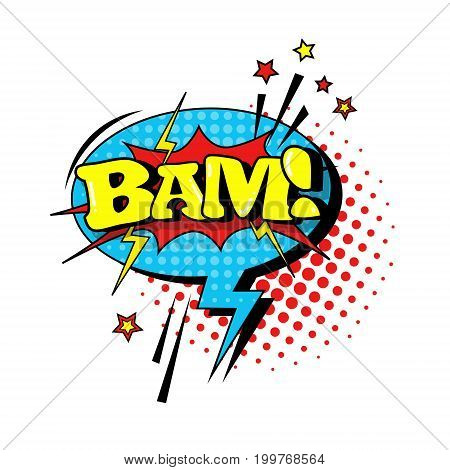 Comic Speech Chat Bubble Pop Art Style Bam Expression Text Icon Vector Illustration