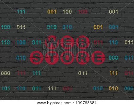 Web development concept: Painted red text Web Store on Black Brick wall background with Binary Code