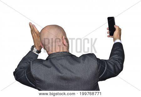 Happy mart phone businessman picture.