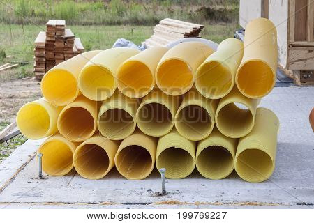 View on Yellow drain pipe - construction site.