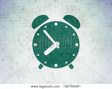 Timeline concept: Painted green Alarm Clock icon on Digital Data Paper background